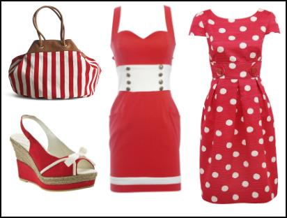 Red/White Spot and Stripeag Shoes Dress Fashion Trends.