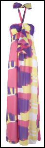 Vibrant Block Print Pink, Purple & Lemon Maxi Halter Dress - Oli Clothing.