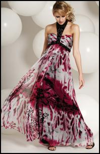 Pink Multi Silk Animal Print Long Halter Dress with Bead Trim - Frank Usher Group AW10.