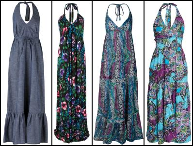 Marisota Denim Maxi Halterneck Dress. NEXT Tropical Maxi Print Dress �40. Reptile Maxi Dress �29, Miss Selfridge. Purple Floral Halter Neck Maxi Dress �20 Boohoo.com.