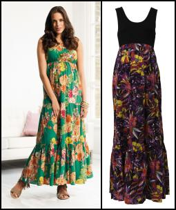 Green Tiered Maternity Maxi Dress - NEXT Directory Maternity. Mama-Licious - Black Bodice Floral Skirt Maxi Dress - �35.