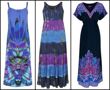 Windsmoor Maxi Print Blue Sundress �149. Centre -  Evans Tie Dye Maxi Dress �35/�55.  Monsoon Black Kuta Dress �70/�110 Eire.