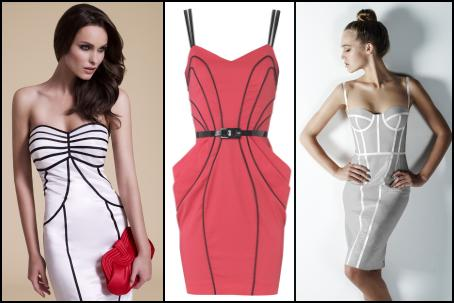 Debut - Black Tape Bandeau Dress �80/�124 at Debenhams. Jane Norman Spring 2010 Piped Pleat Dress �42 Jane Norman - Premium Collection.  M&S Spring/Summer 2010 Dress �59/�80, Marks & Spencer.
