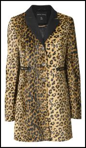 Black Contrast Collar Leopard Coat.