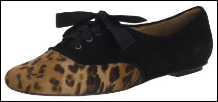 Flat Lace Leopard Shoes - Brogues