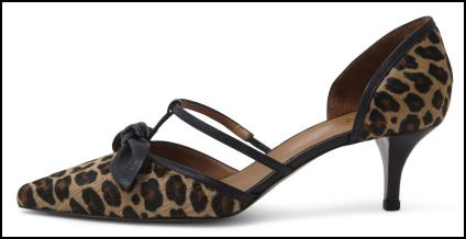 HOBBS Kingston Animal Print T-Bar Kitten Shoe,