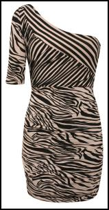 One Shoulder Zebra and Diagonal Stripe Dress