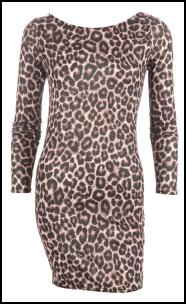 Leopard Print Long Sleeved Bodycon Dress
