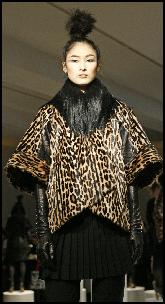 Malandrino Leopard Print Distressed Leather Jacket With Kidassia Goat Collar Trim