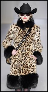 Moschino Leopard Stencilled Rabbit Coat With Dyed Black Fox Trim