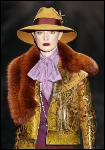 Yellow Bamboo Snakeskin Jacket & Fur Collar Gucci AW11.