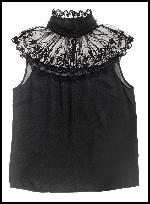 Sisley Benetton Lace Yoke Black Overblouse.