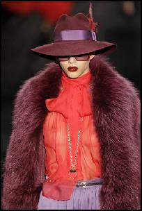 Gucci Colour Blocking, Fedora Hat & Pussy Bow Red Blouse