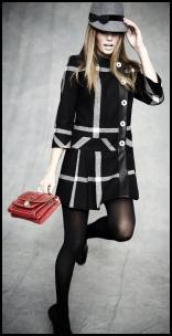 Black & White Check Retro 60s Coat.
