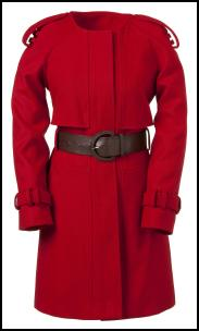 Round Neck Red Belted Coat.