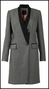 Ted Baker - Black Piped Grey Tailored Coat.