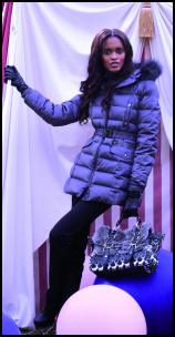 Blue Quilted Padded Hip Coat.