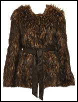 Choc Speckled Belted Fur Coat Jacket.