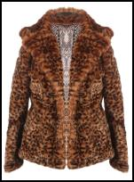 Faux Fur Contoured Animal Print Jacket.