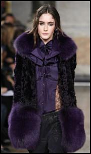 Purple Aubergine Fox Fur Coat.