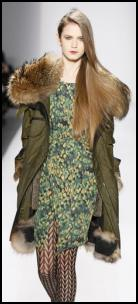 Olive Green Parka Coat.