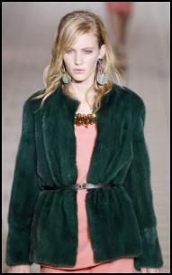 Green Short Cocoon Fur Coat.