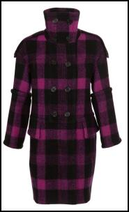 Wool Check Coat, Tubular Sleeves.