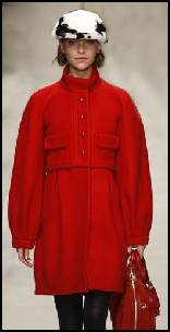 Burberry Red Wool Ballon Sleeves Coat & Baker Boy Hat.
