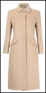 Jigsaw Camel Coat With Fly Front Button Stand.