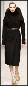 Black Wrap Coat Wrapped With Belt.