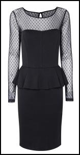 Wallis Black Peplum Sheer Bodice Spot Dress.