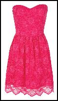 Pink Lace Party Prom Bustier Dress.