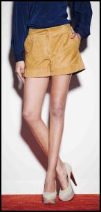 Love Label Gold Suede Shorts.