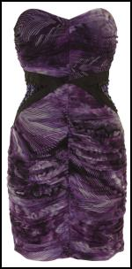 Purple Print Pleat Bustier Dress - Lipsy.