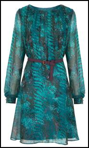 Fine Pleat Bodice Teal Print Dress.