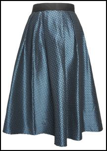 Teal Two Tone 70s Midi Skirt.
