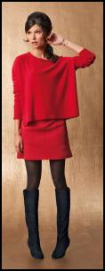 La Redoute AW11 - Red Top & Skirt, Black Knee Boots.