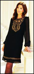 Isme Little Black Tunic Dress With Gold Embellishment.