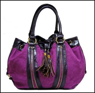 Purple Magenta Suede Effect Handbag With Tassels/Zip Detailing.
