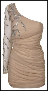 One Shoulder/One Sleeve Nude Tone Beaded Dress.
