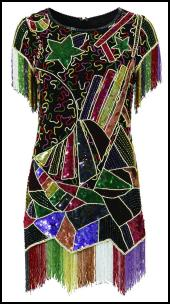 Multi Coloured Sequin Cocktail Evening Dress.