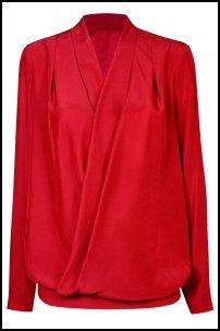 Red Wrap Cross V Blouse.