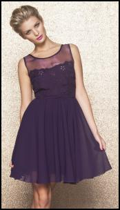 Sheer Chiffon Cutwork Shoulder Yoke Interest Prom Party Dress.