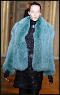 Ungaro Teal Blue Fur Jacket.