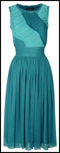 Two Tone Teal Blue Colour Block Ruched Dress.