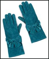 EAST Long Teal Suede Bow Gloves.