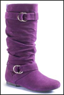 Pull-on Purple Suede Flat Boot.