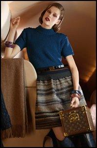 Louis Vuitton Teal Rib Knit With Striped Skirt.