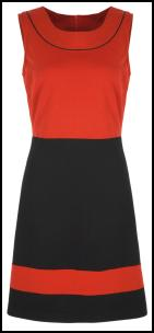 Red/Black Colour Block Dress.