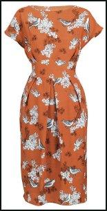 Orange Printed Dress In Style of Miu Miu Prints.